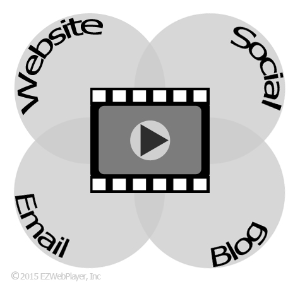 video icon over lapping icons for  servicing websites, social media, email and blogs