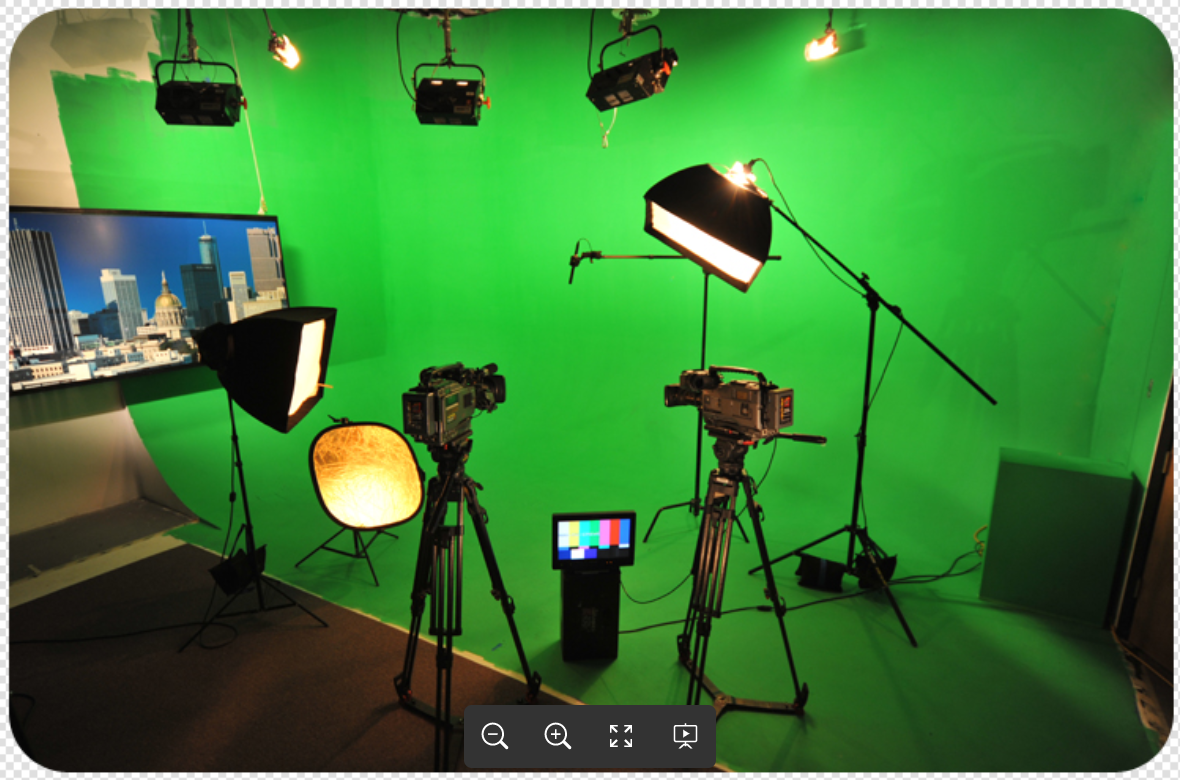 livestream studio set with green screen